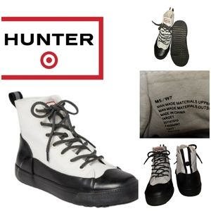 HUNTER FOR TARGET WHITE CANVAS DIPPED ANKLE BOOTS